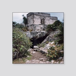 "Mayan Building, Tulum, Mexi Square Sticker 3"" x 3"""