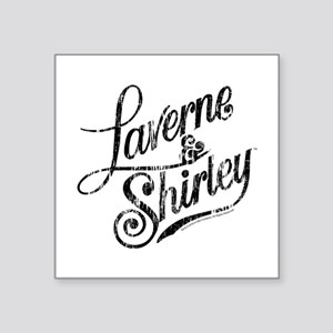 "Laverne and Shirley Logo Bl Square Sticker 3"" x 3"""