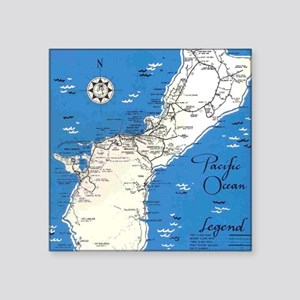 "GUAM MAP Square Sticker 3"" x 3"""