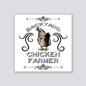"Backyard Chicken Farmer Square Sticker 3"" x 3"""