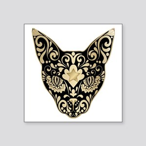 "Gold and black mystic cat Square Sticker 3"" x 3"""