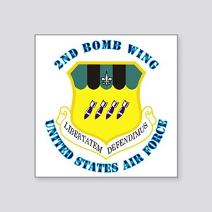 "2nd-Bomb-Wing-with-Text Square Sticker 3"" x 3"""