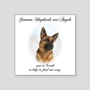 "German Shepherd Angel Square Sticker 3"" x 3"""