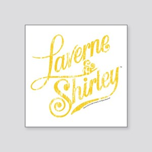 "Laverne and Shirley Yellow Square Sticker 3"" x 3"""