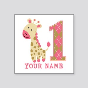 Pink Giraffe First Birthday - Personalized Square