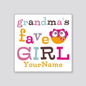 Grandmas Favorite Girl Personalized Square Sticker