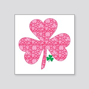 "Pink Shamrocks Wee Green Square Sticker 3"" x 3"""