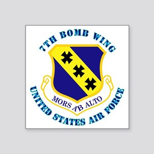 "7th-bomb-wing-txt Square Sticker 3"" x 3"""