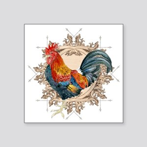 "Vintage Rooster, French Adv Square Sticker 3"" x 3"""