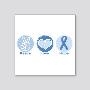 "Peace LtBl Hope Square Sticker 3"" x 3"""