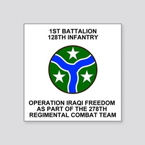 "ARNG-128th-Infantry-1st-Bn- Square Sticker 3"" x 3"""