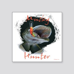 "Muskie hunter Square Sticker 3"" x 3"""