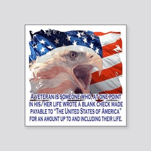 "Veteran Blank Check Square Sticker 3"" x 3"""