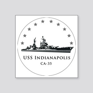 "USS Indianapolis Image Roun Square Sticker 3"" x 3"""