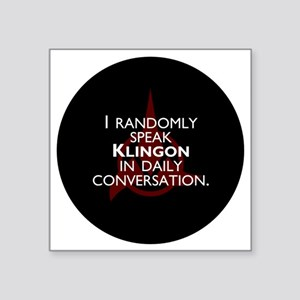 "KlingonButton Square Sticker 3"" x 3"""