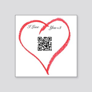 "I Love You QR Code Square Sticker 3"" x 3"""