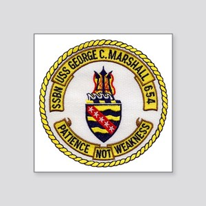 "uss george c. marshall patc Square Sticker 3"" x 3"""