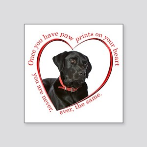 "Lab Paw Prints Square Sticker 3"" x 3"""