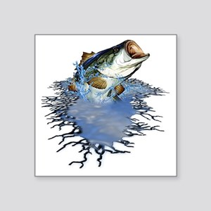 "bassfishing Square Sticker 3"" x 3"""