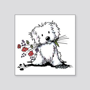 "KiniArt Maltese Garden Help Square Sticker 3"" x 3"""
