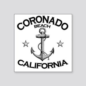 "CORONADO BEACH CALIFORNIA c Square Sticker 3"" x 3"""