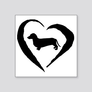 "Wiener2 Heart Square Sticker 3"" x 3"""