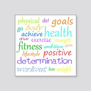 "fitness words Square Sticker 3"" x 3"""