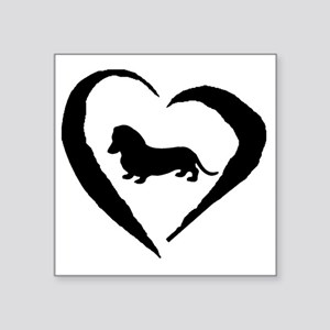 "Wiener1 Heart Square Sticker 3"" x 3"""