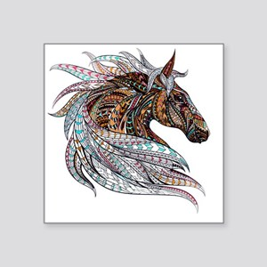 "Warm colors horse drawing Square Sticker 3"" x 3"""