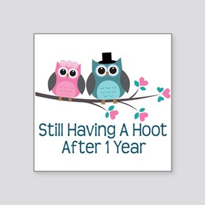 "1st Anniversary Owls Square Sticker 3"" x 3"""