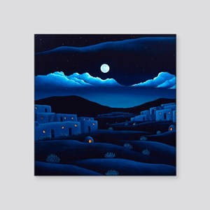 "Pueblo Moon Square Sticker 3"" x 3"""