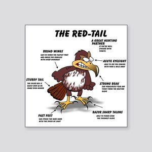 "The Red-Tail Square Sticker 3"" x 3"""