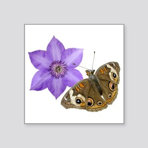 "Squirrel Butterfly Flower Square Sticker 3"" x 3"""