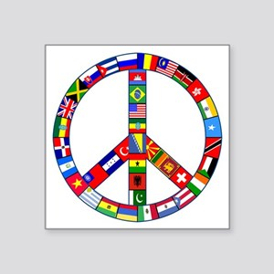 "FlagPeaceSign.png Square Sticker 3"" x 3"""