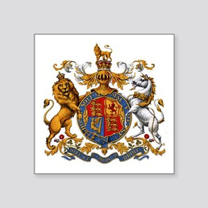 "British Royal Coat of Arms Square Sticker 3"" x 3"""
