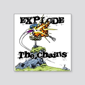 "Disc Golf EXPLODE THE CHAINS Square Sticker 3"" x 3"