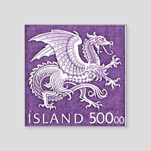 "Vintage 1989 Iceland Dragon Square Sticker 3"" x 3"""