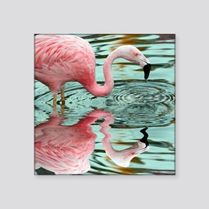 "Pink Flamingo Reflection Square Sticker 3"" x 3"""
