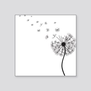 Blowing Dandelion Black Square Sticker