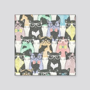 "Hipster Cats Square Sticker 3"" x 3"""