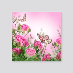 "Butterfly Flowers Square Sticker 3"" x 3"""