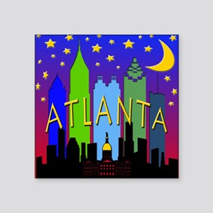 "Atlanta Skyline nightlife Square Sticker 3"" x 3"""