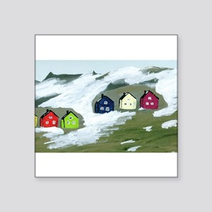 "Colorful Winter Houses Square Sticker 3"" x 3"""