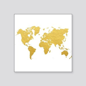 Gold World Map Sticker