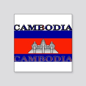 "Cambodia Square Sticker 3"" x 3"""