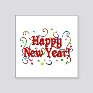 "Happy New Year Square Sticker 3"" x 3"""