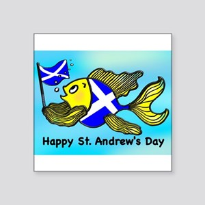 "Happy St. Andrews Day Square Sticker 3"" x 3"""