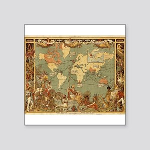Antique World Map Vintage Earth Sticker