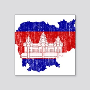"Cambodia Flag And Map Square Sticker 3"" x 3"""