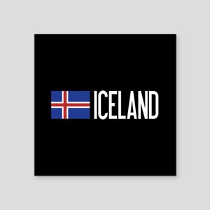 "Iceland: Icelandic Flag & I Square Sticker 3"" x 3"""